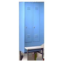 Garderobenschränke mit abgesetztem Sitzbankuntergestell Serie 75 GU von EUGEN WOLF Büro- und Betriebseinrichtungen aus Stahl