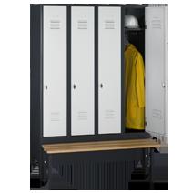 Garderobenschränke mit Sitzbank Serie 75 S von EUGEN WOLF Büro- und Betriebseinrichtungen aus Stahl