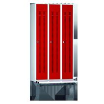 Garderobenschränke unterteilt mit Sitzbankuntergestell Serie 75 U von EUGEN WOLF Büro- und Betriebseinrichtungen aus Stahl