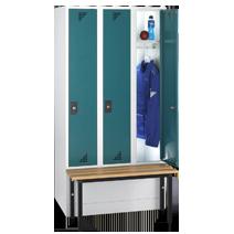 Garderobenschränke mit vorgebauter Sitzbank Serie 82 S von EUGEN WOLF Büro- und Betriebseinrichtungen aus Stahl