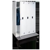 Garderobenschränke mit Sitzbankuntergestell Serie 82 U von EUGEN WOLF Büro- und Betriebseinrichtungen aus Stahl